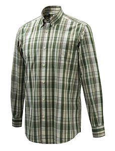 Camicia Wood Button Down Verde Viola e Crema Beretta